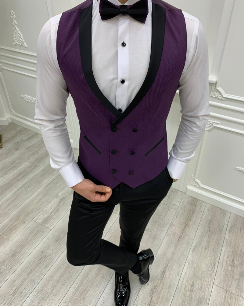 Purple Slim Fit Peak Lapel Tuxedos by GentWith.com with Free Worldwide Shipping