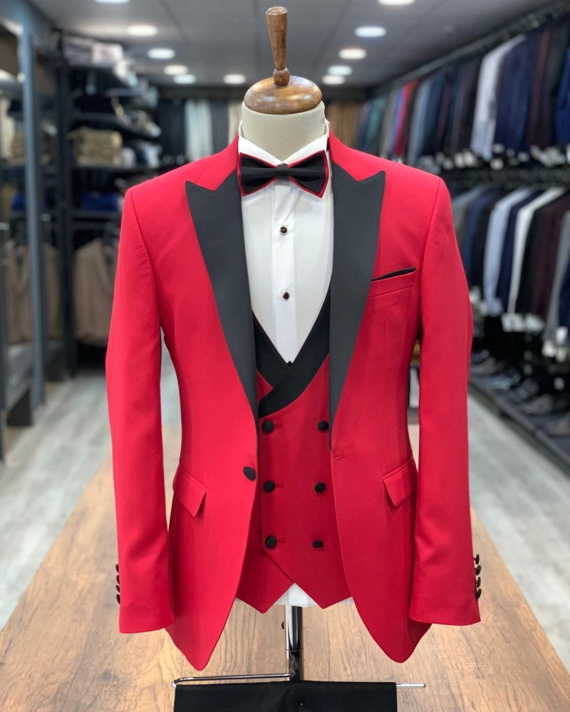 Red Slim Fit Peak Lapel Tuxedo by GentWith.com with Free Worldwide Shipping