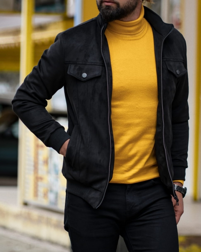Black Slim Fit Wool Coat by GentWith.com with Free Worldwide Shipping
