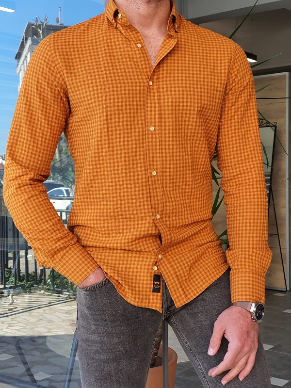 Camel Slim Fit Long Sleeve Checkered Shirt by GentWith.com with Free Worldwide Shipping