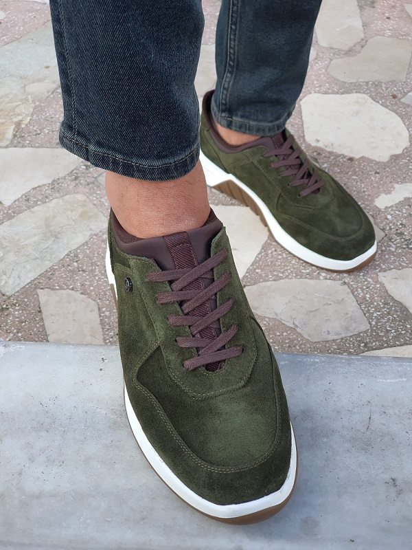 Green Mid-Top Suede Sneakers by GentWith.com with Free Worldwide Shipping