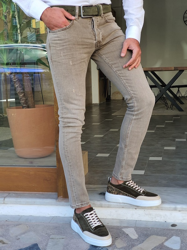 Khaki Slim Fit Ripped Jeans by GentWith.com with Free Worldwide Shipping