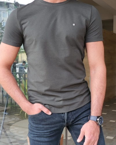 Khaki Slim Fit Round Neck T-Shirt by GentWith.com with Free Worldwide Shipping