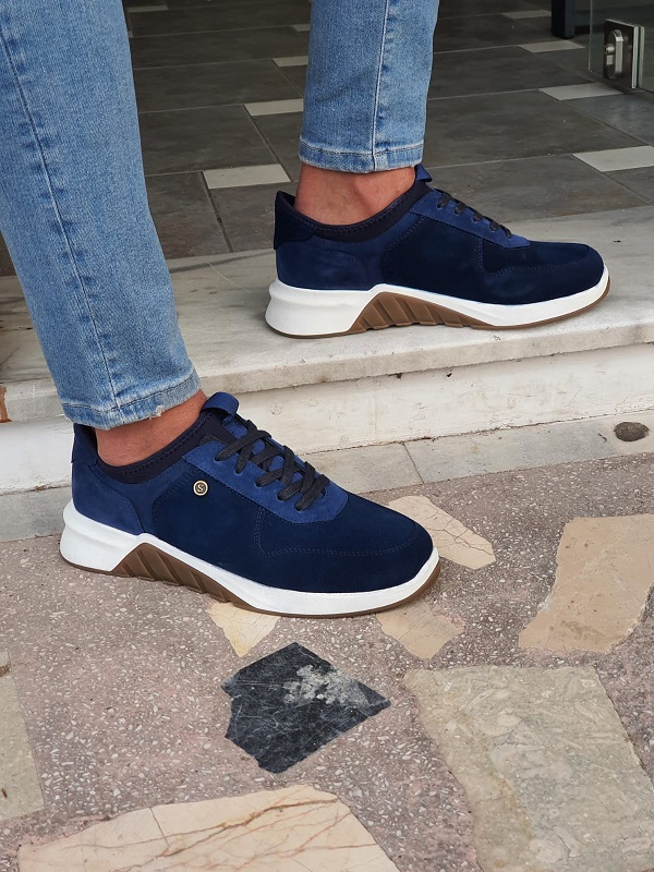 Navy Blue Mid-Top Suede Sneakers by GentWith.com with Free Worldwide Shipping