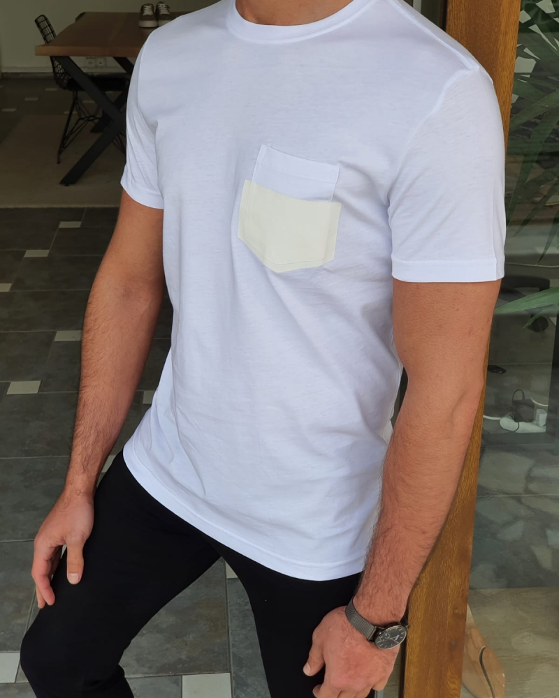 White Slim Fit Crew Neck Cotton T-Shirt by GentWith.com with Free Worldwide Shipping