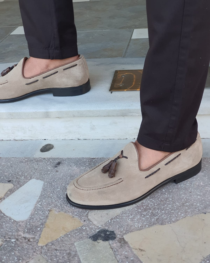 Beige Suede Tassel Loafers by GentWith.com with Free Worldwide Shipping