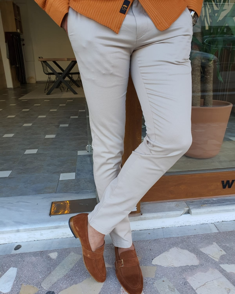 Beige Slim Fit Cotton Pants by GentWith.com with Free Worldwide Shipping