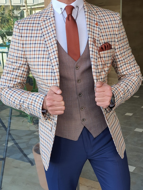 Beige Slim Fit Plaid Suit by GentWith.com with Free Worldwide Shipping