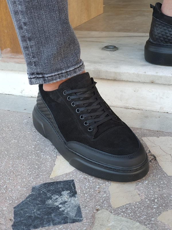 Black High-Top Suede Sneakers by GentWith.com with Free Worldwide Shipping