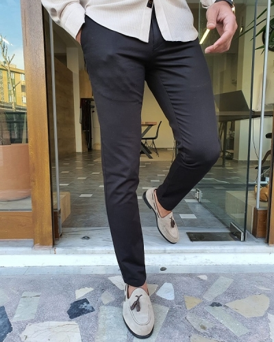 Black Slim Fit Cotton Pants by GentWith.com with Free Worldwide Shipping