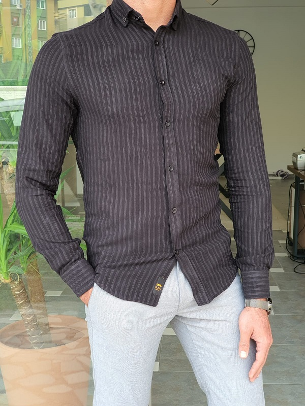 Black Slim Fit Long Sleeve Striped Cotton Shirt by GentWith.com with Free Worldwide Shipping