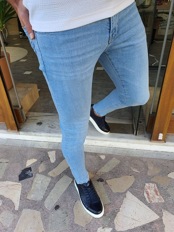 Blue Slim Fit Jeans by GentWith.com with Free Worldwide Shipping