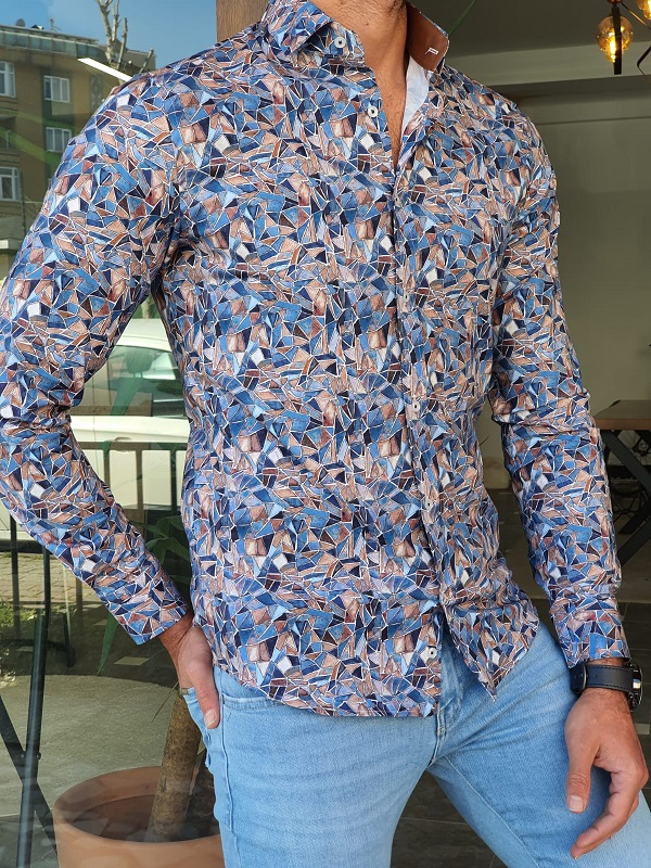 Blue Slim Fit Long Sleeve Cotton Shirt by GentWith.com with Free Worldwide Shipping