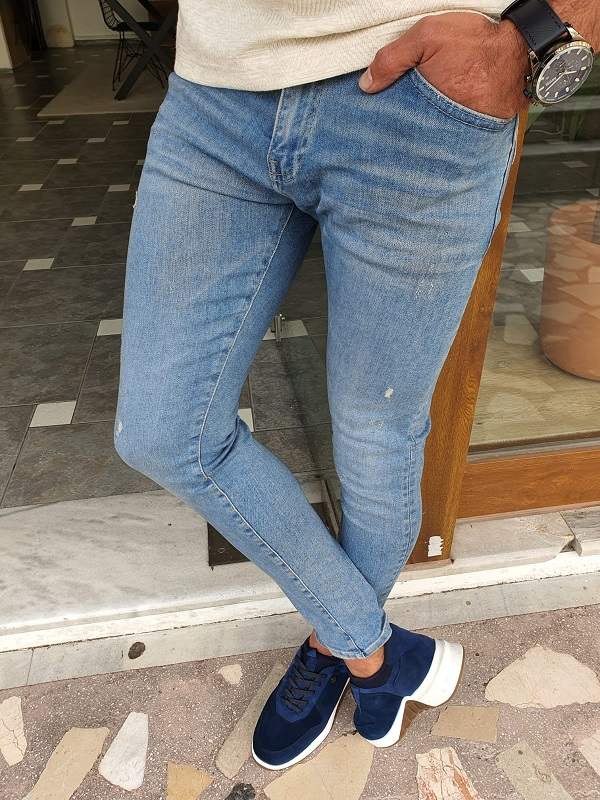 Blue Slim Fit Ripped Jeans by GentWith.com with Free Worldwide Shipping
