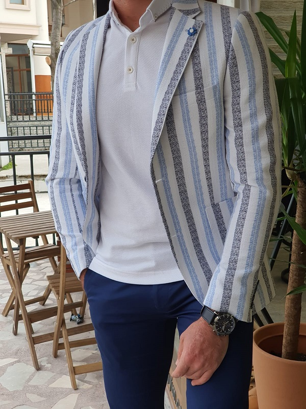 Blue Slim Fit Striped Cotton Blazer by GentWith.com with Free Worldwide Shipping