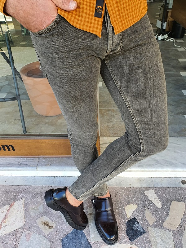 Brown Slim Fit Jeans by GentWith.com with Free Worldwide Shipping