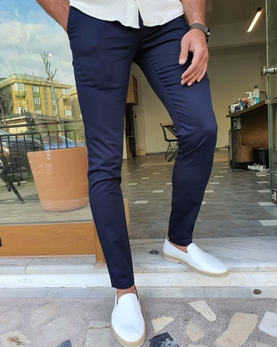 Dark Blue Slim Fit Cotton Pants by GentWith.com with Free Worldwide Shipping