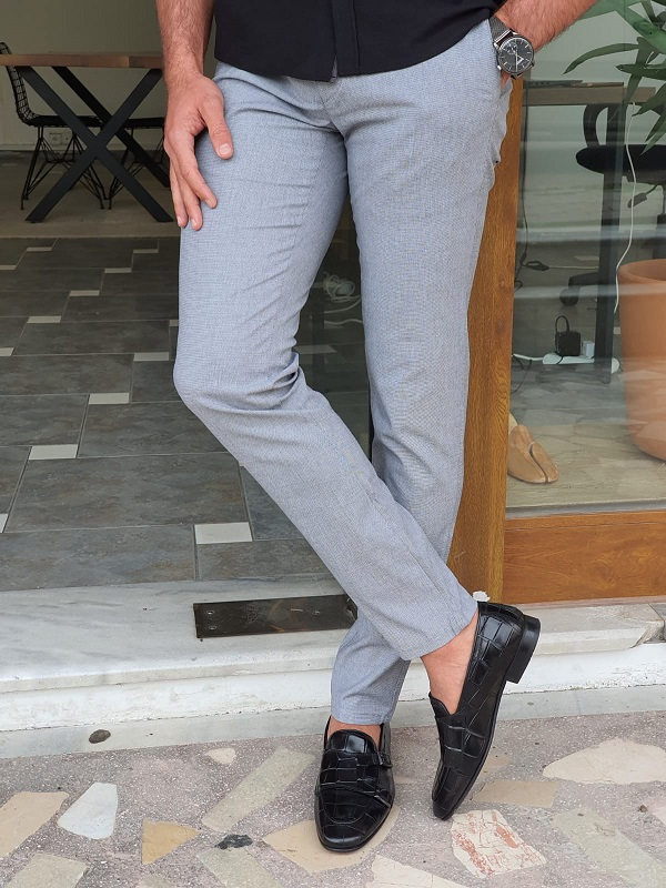 Gray Slim Fit Cotton Pants by GentWith.com with Free Worldwide Shipping