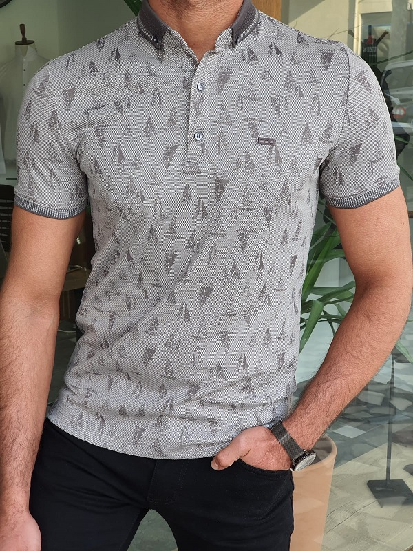 Gray Slim Fit Polo T-Shirt by GentWith.com with Free Worldwide Shipping