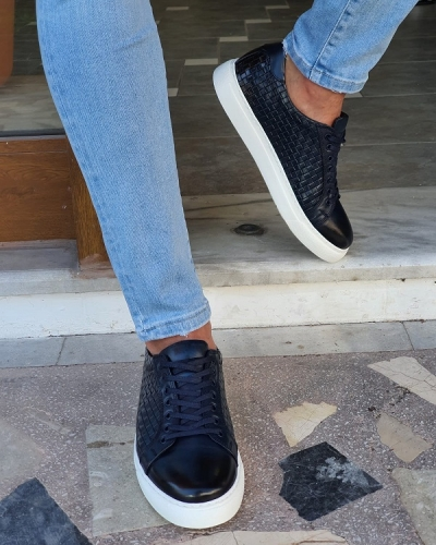 Navy Blue Low-Top Sneakers by GentWith.com with Free Worldwide Shipping