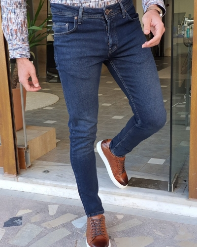 Navy Blue Slim Fit Jeans by GentWith.com with Free Worldwide Shipping