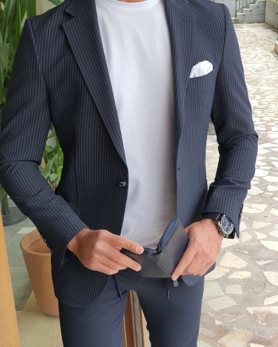 Navy Blue Slim Fit Striped Suit by GentWith.com with Free Worldwide Shipping