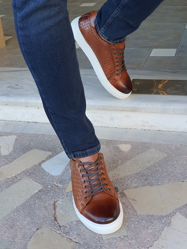 Tan Low-Top Sneakers by GentWith.com with Free Worldwide Shipping