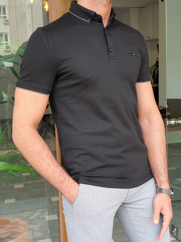 Black Slim Fit Polo T-Shirt by GentWith.com with Free Worldwide Shipping