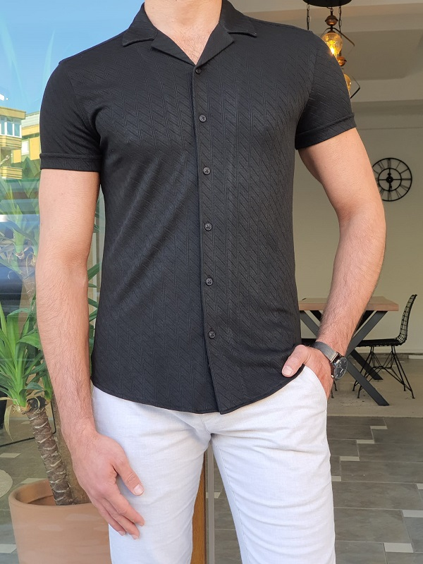 Black Slim Fit Short Sleeve Shirt by GentWith.com with Free Worldwide Shipping