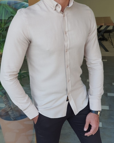 Beige Slim Fit Long Sleeve Striped Cotton Shirt by GentWith.com with Free Worldwide Shipping