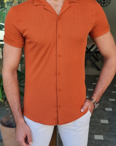 Dark Orange Slim Fit Short Sleeve Shirt by GentWith.com with Free Worldwide Shipping