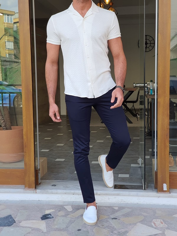 Ecru Slim Fit Short Sleeve Shirt by GentWith.com with Free Worldwide Shipping