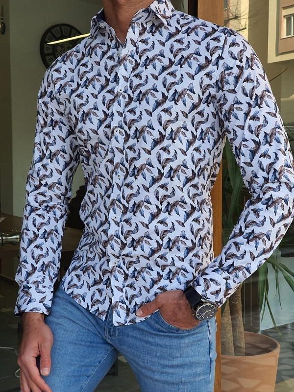Navy Blue Slim Fit Long Sleeve Shirt by GentWith.com with Free Worldwide Shipping