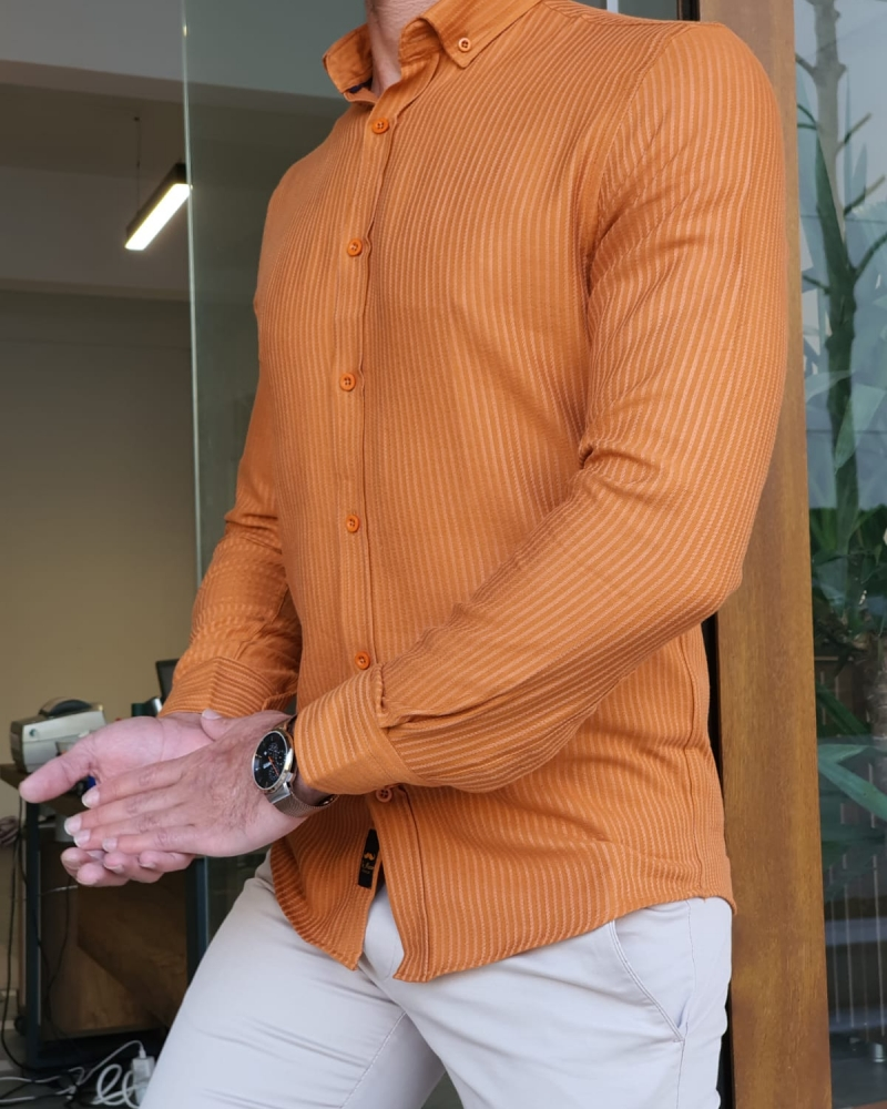 Orange Slim Fit Long Sleeve Striped Cotton Shirt by GentWith.com with Free Worldwide Shipping