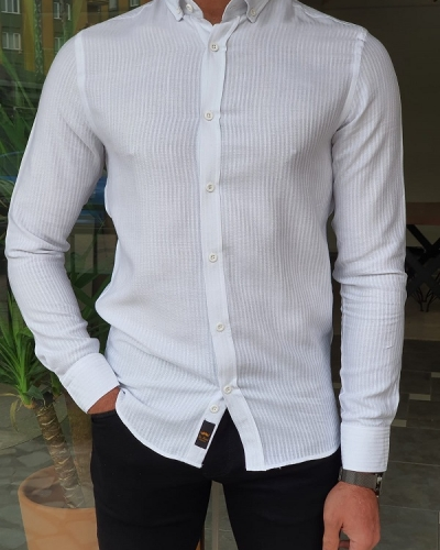 White Slim Fit Long Sleeve Striped Cotton Shirt by GentWith.com with Free Worldwide Shipping