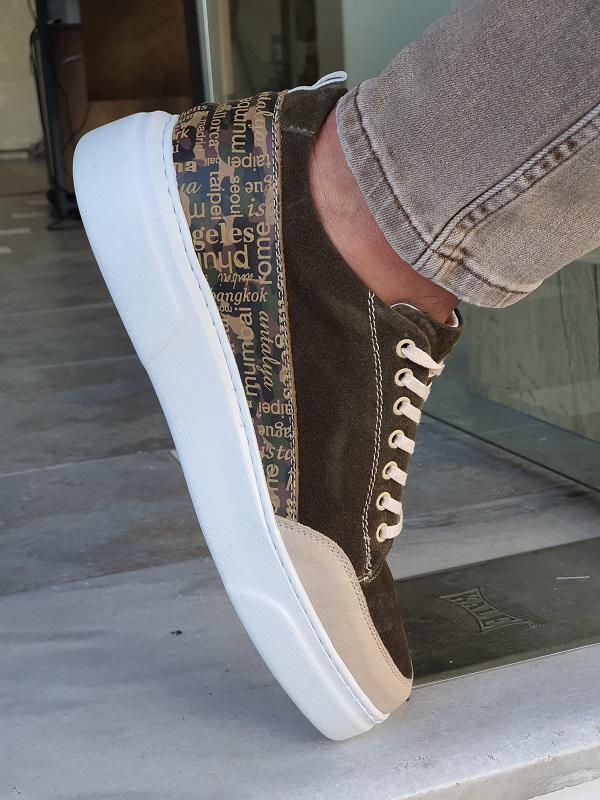 Khaki Hip-Top Suede Sneakers by GentWith.com with Free Worldwide Shipping