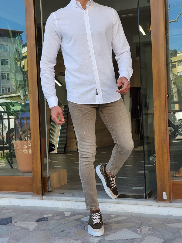 White Slim Fit Long Sleeve Shirt by GentWith.com with Free Worldwide Shipping