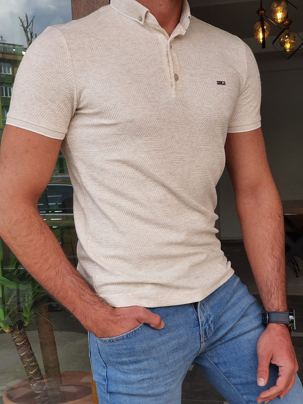Beige Slim Fit Long Polo T-Shirt by GentWith.com with Free Worldwide Shipping
