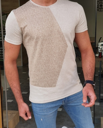 Beige Slim Fit Round Neck T-Shirt by GentWith.com with Free Worldwide Shipping