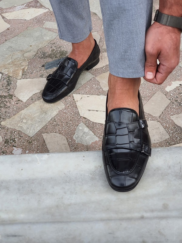 Black Double Monk Strap Loafers by GentWith.com with Free Worldwide Shipping