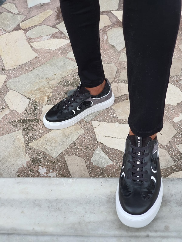 Black High-Top Lace Up Sneakers by GentWith.com with Free Worldwide Shipping