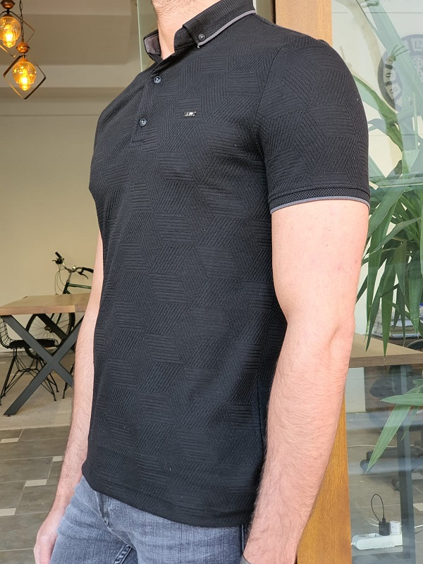 Black Slim Fit Long Polo T-Shirt by GentWith.com with Free Worldwide Shipping