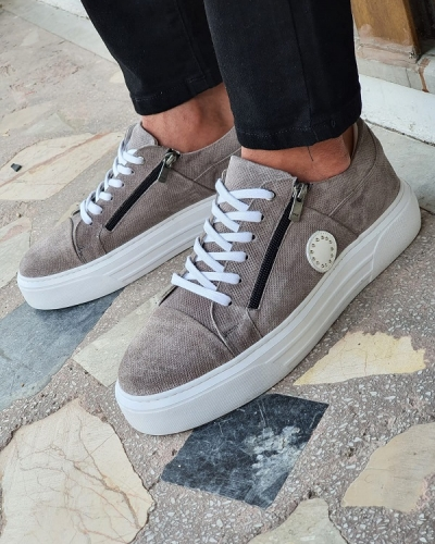 Gray Mid-Top Zipper Sneakers by GentWith.com with Free Worldwide Shipping