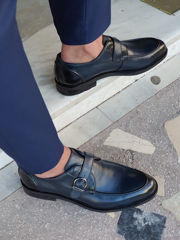 Navy Blue Buckle Loafers by GentWith.com with Free Worldwide Shipping