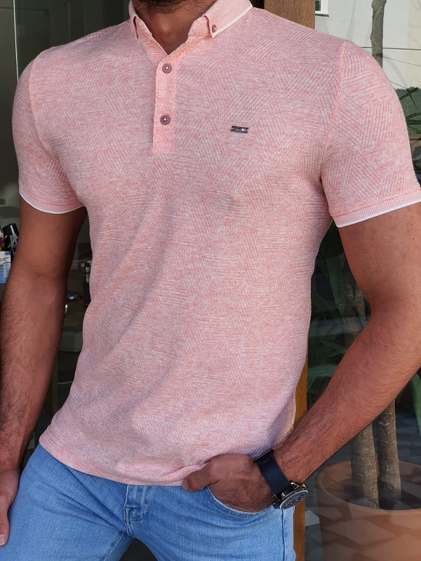 Pink Slim Fit Long Polo T-Shirt by GentWith.com with Free Worldwide Shipping