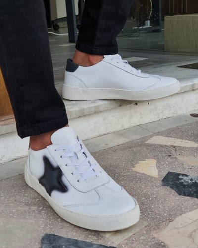White Mid-Top Lace Up Sneakers by GentWith.com with Free Worldwide Shipping