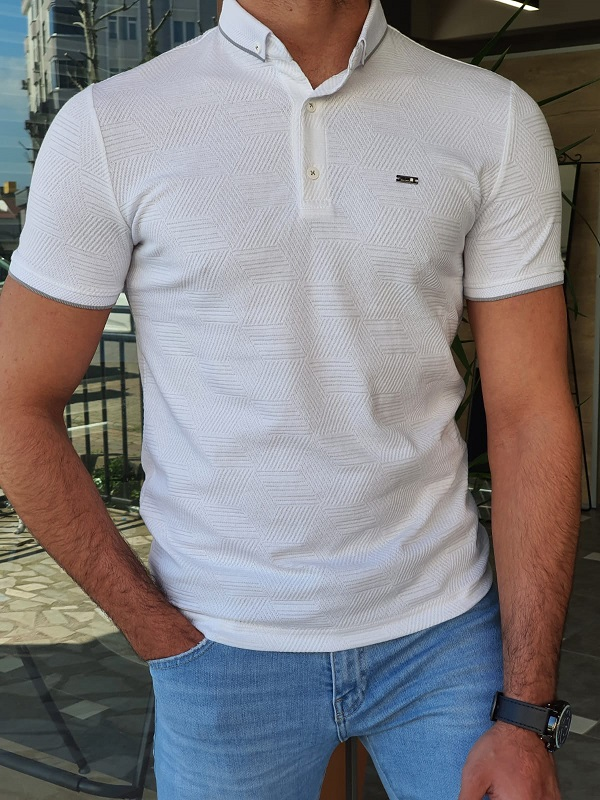 White Slim Fit Long Polo T-Shirt by GentWith.com with Free Worldwide Shipping
