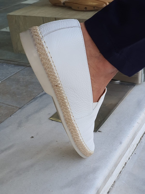 White Slip-On Loafers by GentWith.com with Free Worldwide Shipping