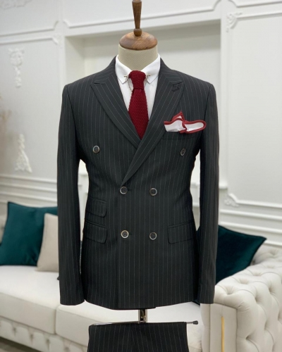 Black Slim Fit Double Breasted Pinstripe Suit by GentWith.com with Free Worldwide Shipping