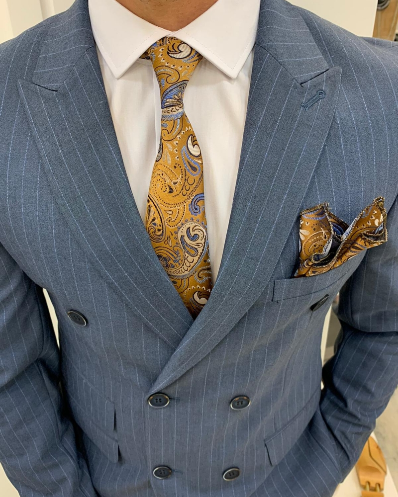 Blue Slim Fit Double Breasted Pinstripe Suit by GentWith.com with Free Worldwide Shipping
